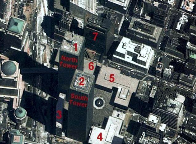 Abb. 10: Das Gebäude 7 ist eingestürzt obwohl die Flugzeuge nur Gebäude 1 und 2 angeflogen hatten.