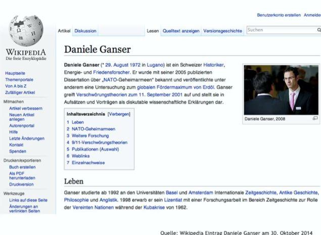 Abb. 12: Daniele Gansers Wikipedia Steckbrief wird permanent anonym umgeschrieben.