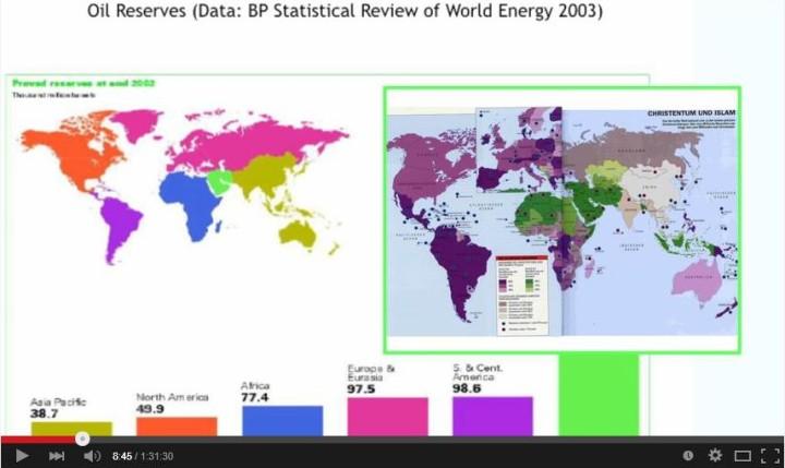 Abb.2: Die Ölreserven liegen in den muslimischen Ländern, hier grün markiert.