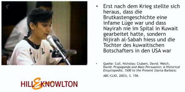 Abb. 6: Die Tochter des kuwaitischen Botschafters, Nijirah al-Sabah, und ihre große (Märchen-) Stunde im amerikanischen Fernsehen.