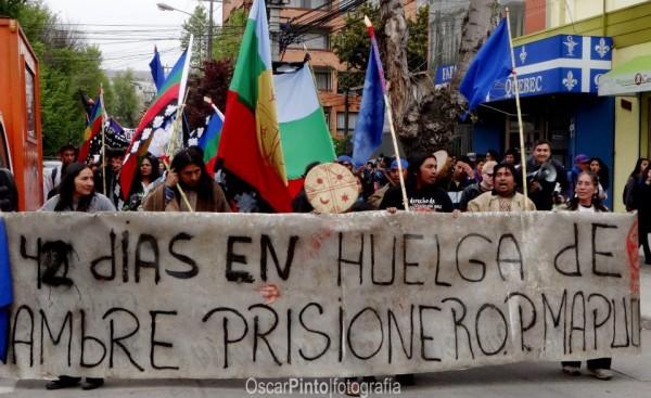 Activistas mapuche en huelga de hambre en el sur de Chile