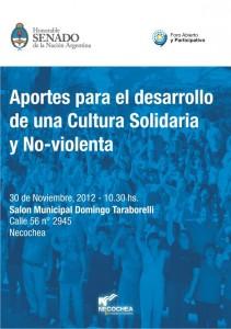 """Jornada """"Aportes para el Desarrollo de una Cultura Solidaria y Noviolenta"""" en Necochea"""