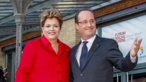 Dilma e Hollande discutem em Paris crise econômica internacional e venda de caças