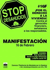 Manifestazioni in tutta la Spagna per il diritto alla casa e contro il genocidio finanziario