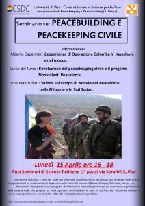 Peacebuilding e Peacekeeping civile – Seminario a Pisa