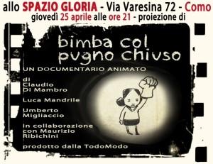 """Como, 25 aprile 2013, documentario animato """"Bimba col pugno chiuso"""""""