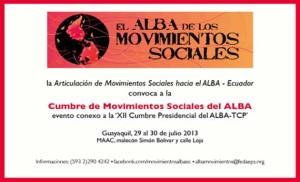 Cumbre de Movimientos Sociales de la ALBA:Declaración de Guayaquil