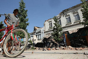 Una larga y angosta franja terremoteada