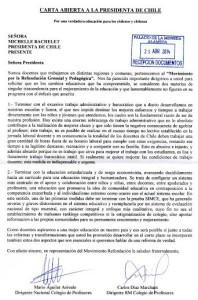 Carta abierta a la Presidenta de Chile