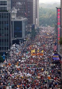 Aerial Drone Video Footage from People's Climate March in New York City