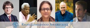 I Right Livelihood Awards del 2014 premiano il coraggioso ed efficace lavoro per i diritti umani, la libertà di stampa, le libertà civili e la lotta al cambiamento climatico