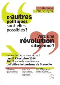 Conférence-débat : «D'autres politiques sont-elles possibles ? Vers une révolution citoyenne»