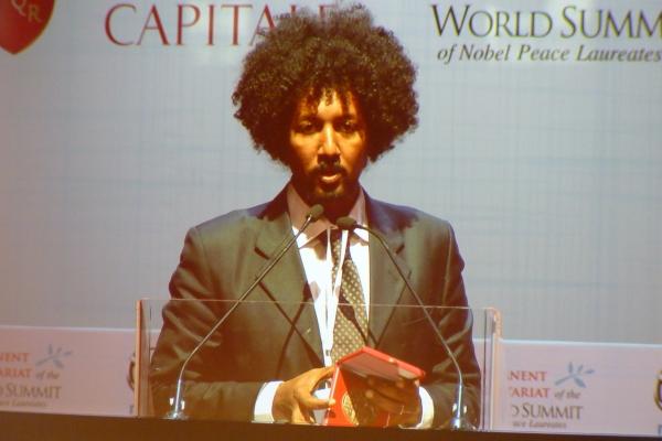 Tareke Brhane Summit dei Premi Nobel per la Pace 2014