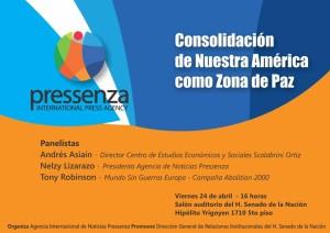 """Panel «Consolidación de Nuestra América como Zona de Paz"""" organizado por Pressenza-Argentina"""