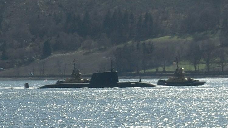 Trident submarine arriving at the Faslane naval base, Scotland, May 2015