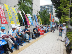 Sit-in against a proposal of constitutional change for Japan to participate in wars