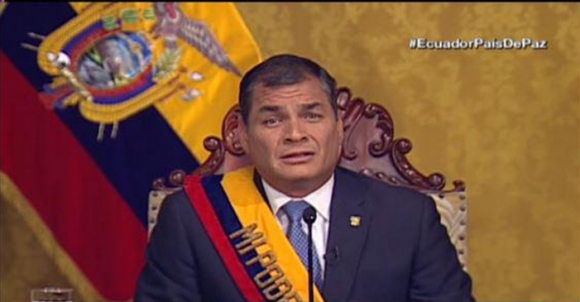 """President Correa announces """"temporary"""" suspension of laws and calls for a """"national debate"""""""