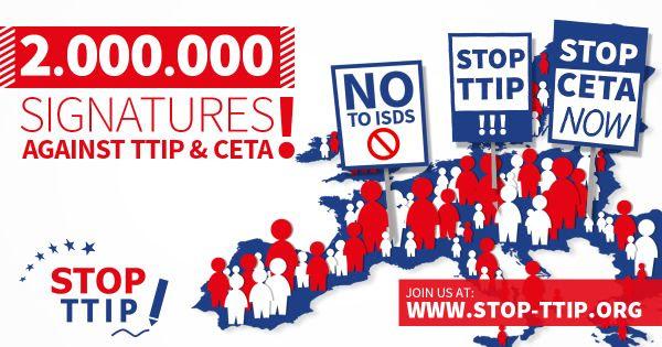 2.000.000 firmas en toda Europa contra el TTIP