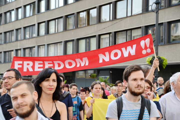 Hungary – Serbia wall protest 07