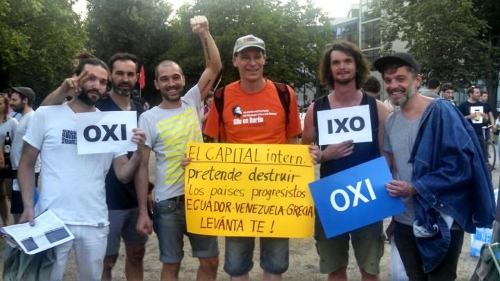 Grupo de solidaridad con Ecuador participa en multitudinaria marcha en Berlín para visibilizar su apoyo a los gobiernos ecuatoriano, venezolano y griego