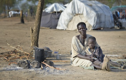 Woman and child in South Sudan camp for internally displaced people