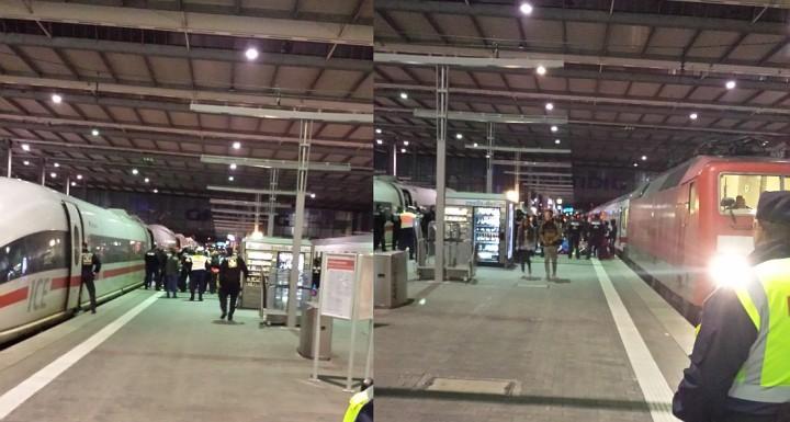 Die mit Zügen eingetroffenen Flüchtlinge blieben zunächst unter Polizeiabschirmung auf dem Bahnsteig