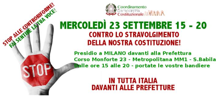Oggi presidi e volantinaggi in tutta Italia per protestare contro le riforme istituzionali di Renzi