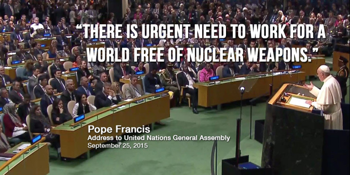 Pope Francis speaks out to eliminate nuclear weapons