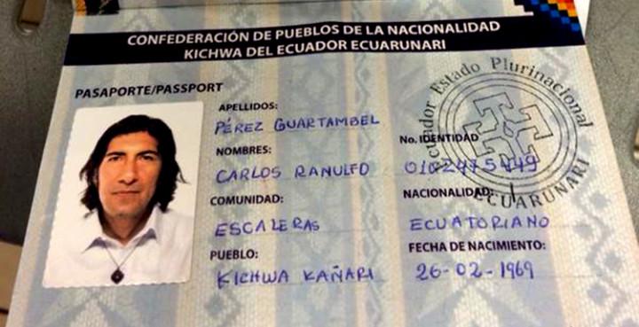 President Of Ecuarrunari, Carlos Pérez Guartambel, enters Ecuador with an indigenous organization issued passport