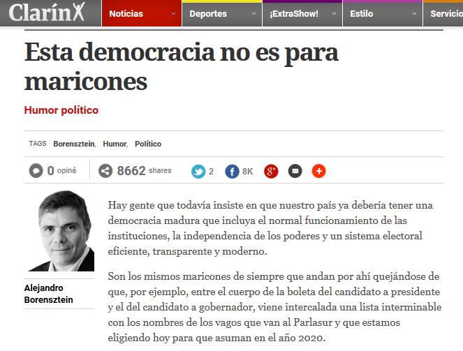 """La CHA presentó la denuncia de la nota de Clarín: """"Democracia sin maricones"""""""