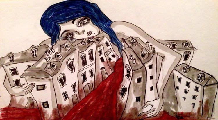 paris attentats « Abbraccio di vita » [Étreinte de vie]