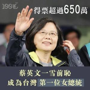 La prima Presidente donna  rallegra la Taiwan democratica