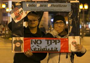 Movilización contra el TPP en Huancayo, Perú.