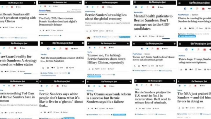 Washington Post, 16 articoli anti-Sanders in 16 ore