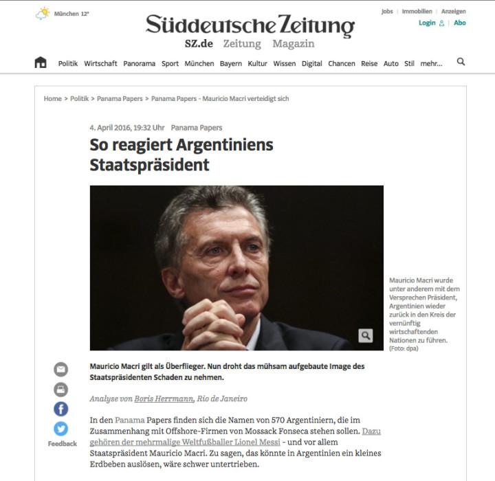 Nota original en el diario alemán Süddeutsche Zeitung