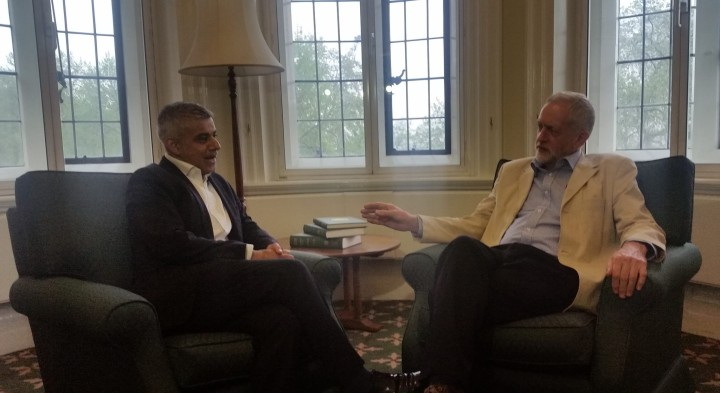 Jeremy Corbyn meets Sadiq Khan, new Mayor of London