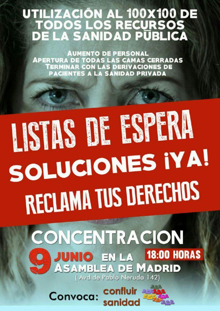 Concentración contra listas de espera en sanidad en Madrid