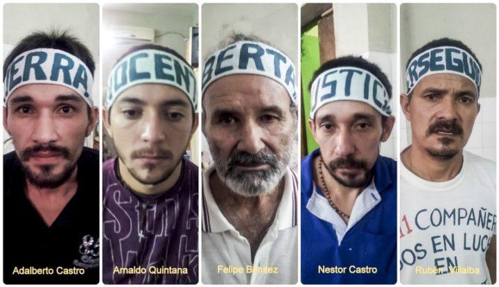 5 de los 12 campesinos que se encuentran hoy privados de su libertad desde hace más de 4 años. Fotos: CigarraPy