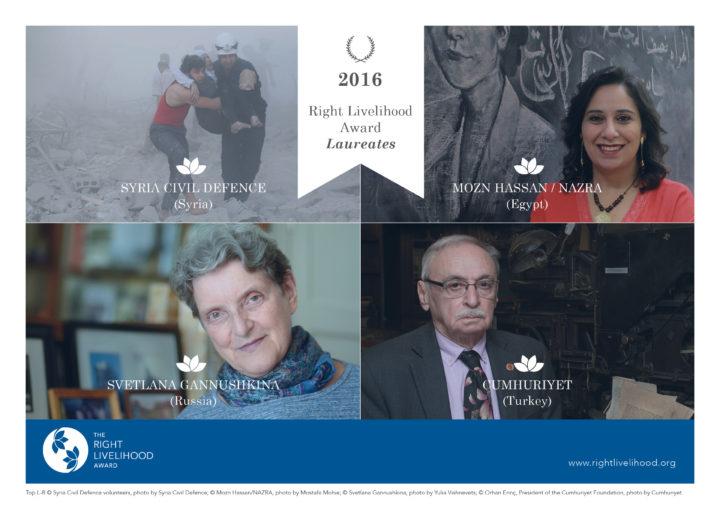Il Premio Right Livelihood 2016 difende i diritti umani e i valori fondamentali di fronte alla guerra e alla repressione
