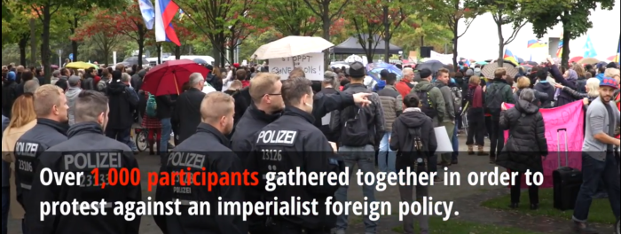 Thousands protest against NATO & TTIP in front of the Chancellor's Office in Berlin