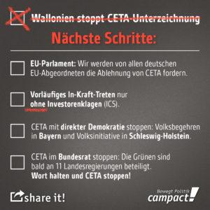 Scheitern von CETA nur aufgeschoben