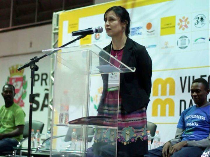 Viviana Peña, coordinadora del CRAI, en el Foro Social Mundial de Migraciones 2016. Fotografía: Pedro Biava.