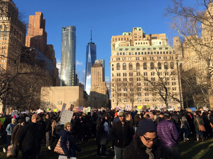 Protesters Rally in Battery Park Against President Trump's Travel Ban