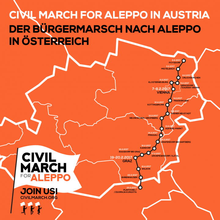 La Civil March for Aleppo raggiunge Vienna