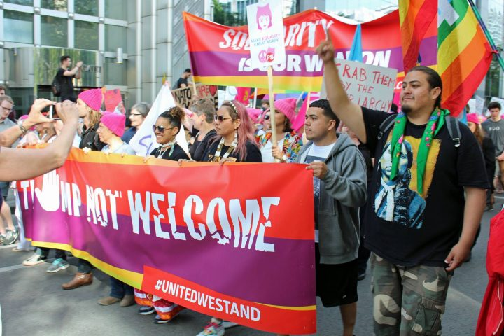 """Protest March """"Trump Not Welcome"""" in Brussels"""