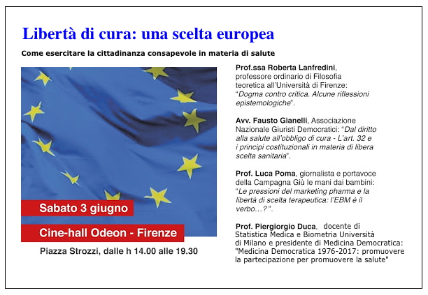 "Convegno ""Libertà di cura: una scelta europea"""