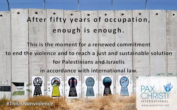 Marking the 50th anniversary of the Six-Day War with a call to end the occupation of Palestine