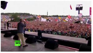 'Another world is possible': Corbyn headlines Glastonbury stage with message of unity