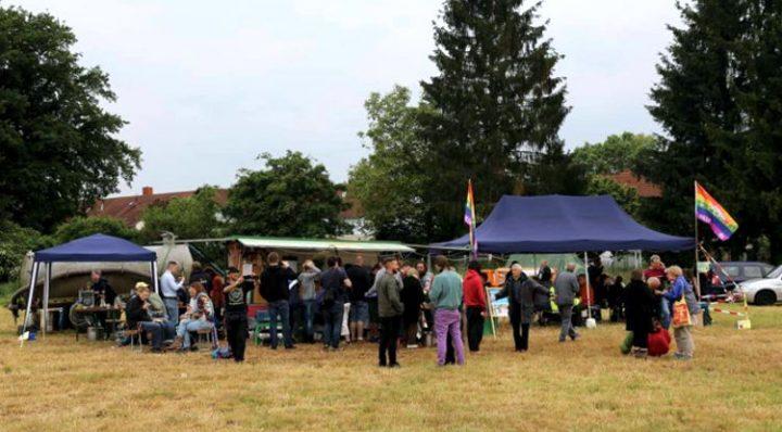Campamento por la Paz 2017 en el marco de la campaña «Alto a la base aérea de Ramstein»