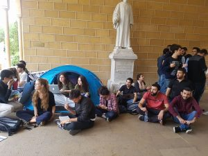 Beirut, protest against AUB Terminating 13 Master's Students Scholarships